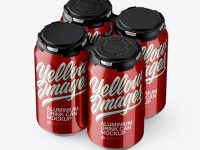Pack with 4 Metallic Aluminium Cans with Plastic Holder Mockup - Half Side View (High-Angle Shot)