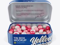 Opened Glossy Tin Box With Candies Mockup - Front View (High-Angle Shot)