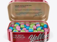 Opened Metallic Tin Box With Candies Mockup - Front View (High-Angle Shot)