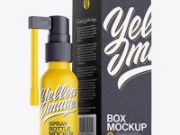 Matte Spray Bottle W/ Paper Box Mockup