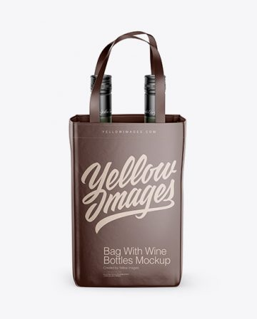 Bag With Wine Bottles Mockup - Front View