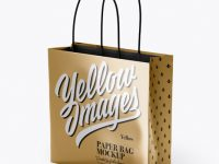 Square Metallic Paper Bag Mockup - Half Side View