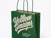 Square Paper Bag Mockup - Half Side View