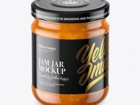 Clear Glass Jar with Apricot Jam Mockup - High-Angle Shot