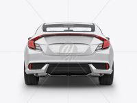 Compact Coupe Car Mockup - Back View