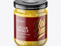 Clear Glass Jar with Pear Jam Mockup - High-Angle Shot
