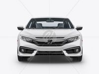 Compact Coupe Car Mockup - Front View