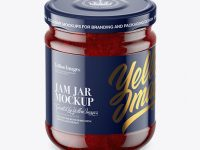 Clear Glass Jar with Strawberry Jam Mockup - High-Angle Shot