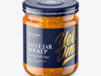 Clear Glass Jar with Sweet & Sour Sauce Mockup - High-Angle Shot