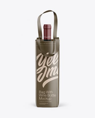Bag With Wine Bottle Mockup - Front View
