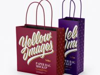 Two Matte Paper Bags Mockup - Half Side View