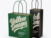 Two Paper Bags Mockup - Half Side View