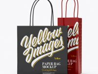 Two Glossy Paper Bags Mockup - Half Side View