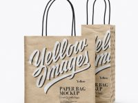 Two Kraft Paper Bags Mockup - Half Side View