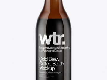 180ml Amber Glass Bottle With Cold Brew Coffee Mockup
