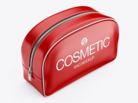 Glossy Cosmetic Bag - Half Side View (High-Angle Shot)