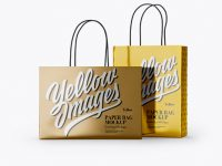 Two Metallic Paper Bags Mockup - Half Side View