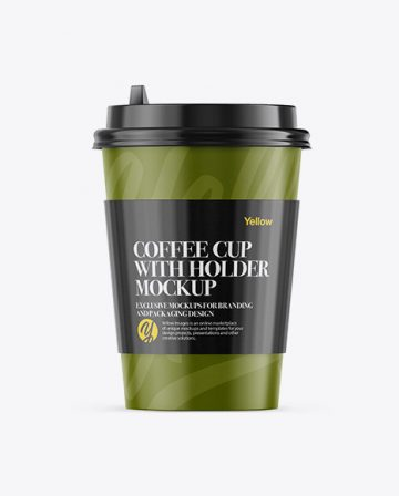 Coffee Cup With Sleeve Mockup - Front View