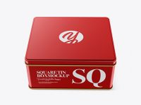 Matte Metallic Square Tin Box Mockup (High-Angle Shot)