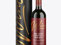 Green Glass Red Wine Bottle and Tube Mockup