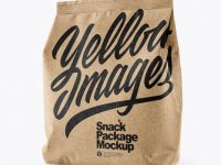 Kraft Snack Package Mockup - Half Side View