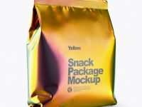 Holographic Snack Package Mockup - Half Side View