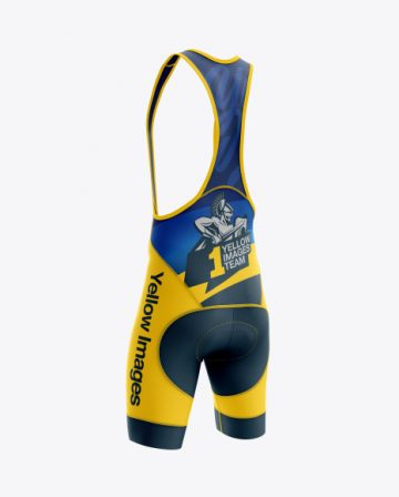 Men's Cycling Bib Shorts mockup (Back Half Side View)