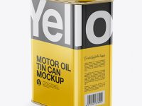 Glossy Oil Tin Can Mockup - Half Side View