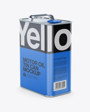 Matte Oil Tin Can Mockup - Half Side View