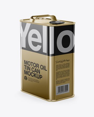 Metallic Oil Tin Can Mockup - Half Side View