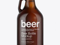 64oz Amber Beer Bottle Mockup
