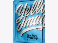 Matte Metallic Sachet Mockup - Half Side View