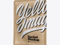 Kraft Paper Sachet Mockup - Half Side View