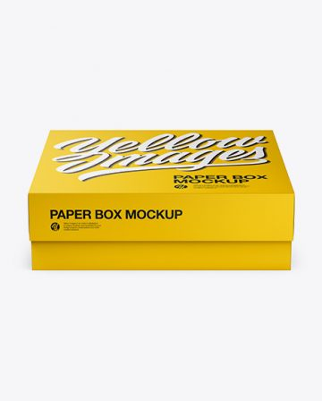 Square Paper Box Mockup - Front View (High Angle Shot)