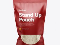 Stand-Up Pouch with Rice Mockup - Front View