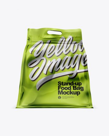Metallic Stand-up Food Bag Mockup - Hero Shot