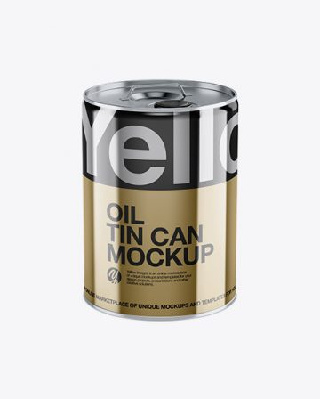Metallic Oil Tin Can Mockup - High-Angle Shot