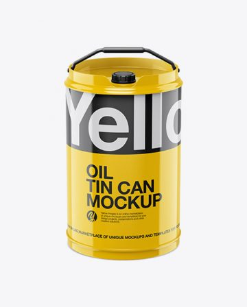 Glossy Oil Tin Can Mockup - High-Angle Shot