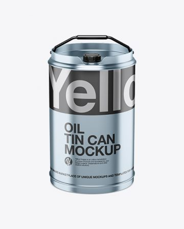 Matte Metallic Oil Tin Can Mockup - High-Angle Shot