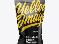 Glossy Stand-Up Pouch w/ Zipper Mockup - Half Side View
