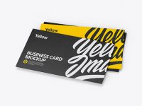 Three Textured Business Cards Mockup - Half Side View (High-Angle Shot)