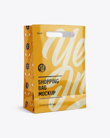 Glossy Shopping Bag Mockup - Halfside View (Eye-Level Shot)