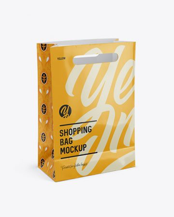 Glossy Shopping Bag Mockup - Halfside View (High Angle Shot)