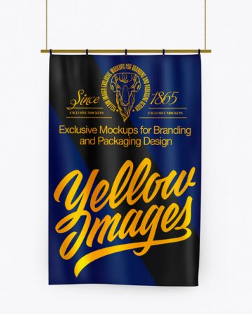 Vertical Flag With Metallic Pole Mockup - Front View