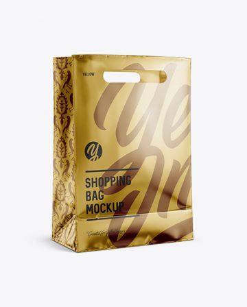 Metallic Shopping Bag Mockup - Halfside View (Eye-Level Shot)