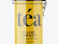 Glossy Tea Round Jar With Locking Lid Mockup