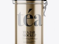 Metallic Tea Round Jar With Locking Lid Mockup
