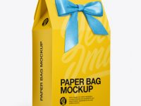 Paper Bag With Bow Mockup - Half Side View