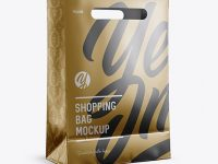 Matte Metallic Shopping Bag Mockup - Halfside View (Eye-Level Shot)