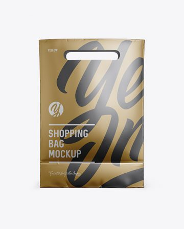 Matte Metallic Paper Shopping Bag Mockup - Front View